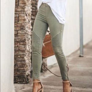 Olive-green army jeggings